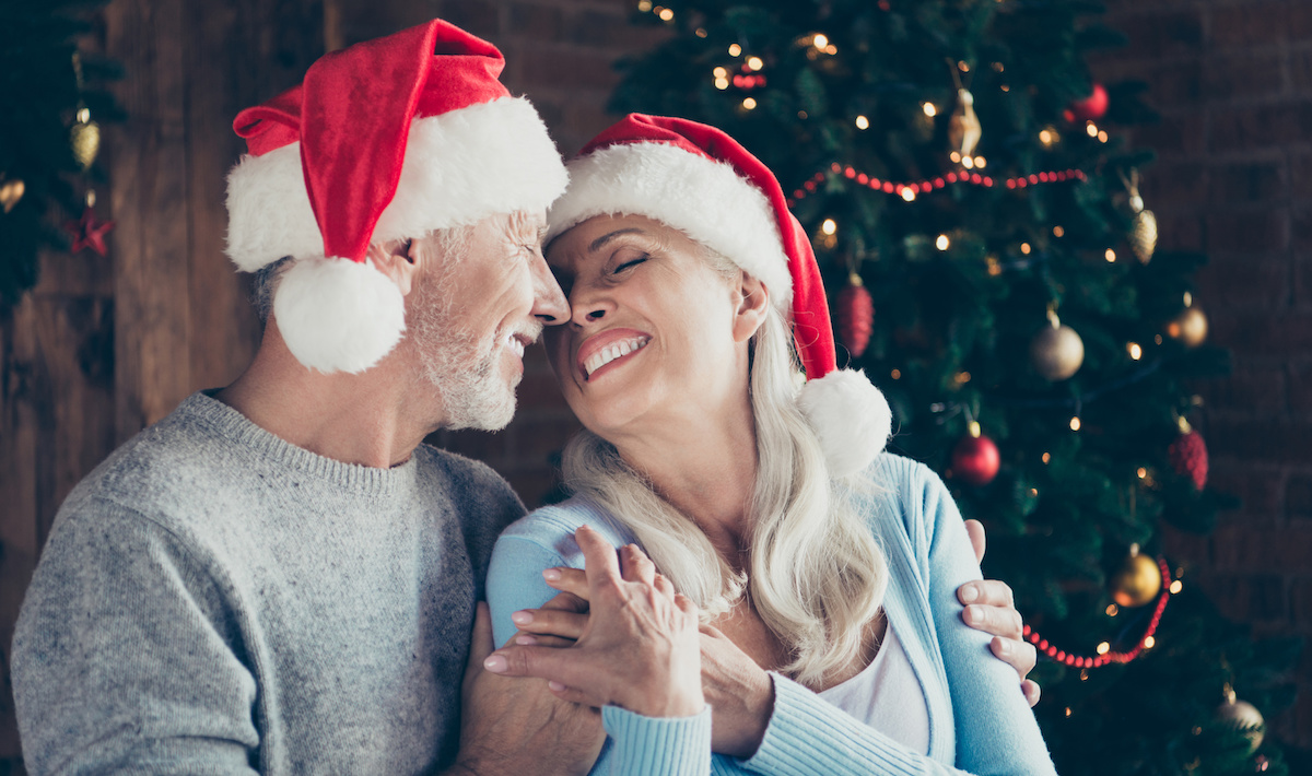 Profile side portrait of two cheerful lovely sweet tender beautiful adorable cute romantic grey-haired married spouses husband and wife enfolding near fir tree in house